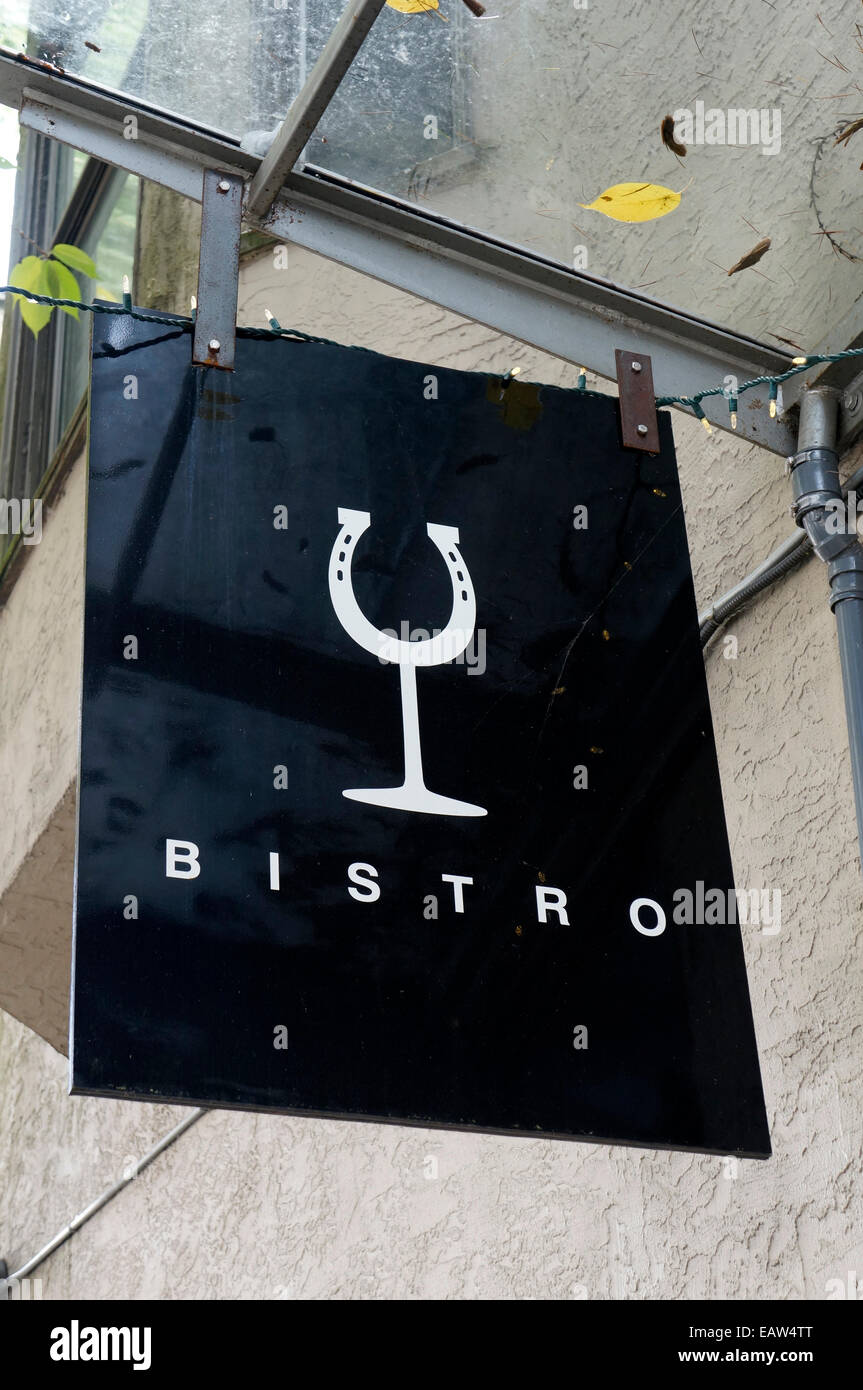 Simple black and white wine bistro sign, Vancouver, BC, Canada - Stock Image