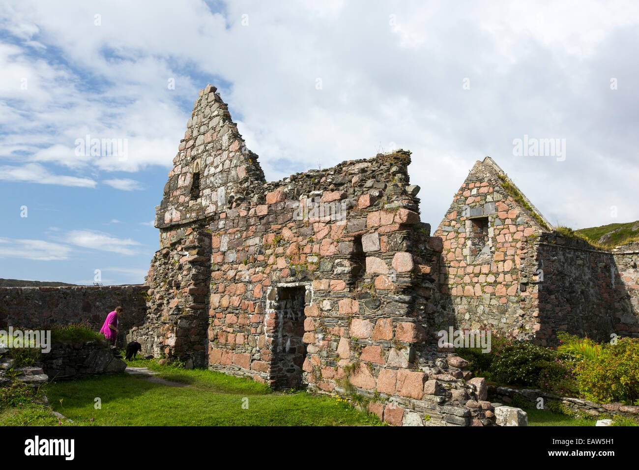 The Augustinian medieval nunnery on the Isle of iona, it is the oldest preserved nunnery in the British Isles, constructed - Stock Image
