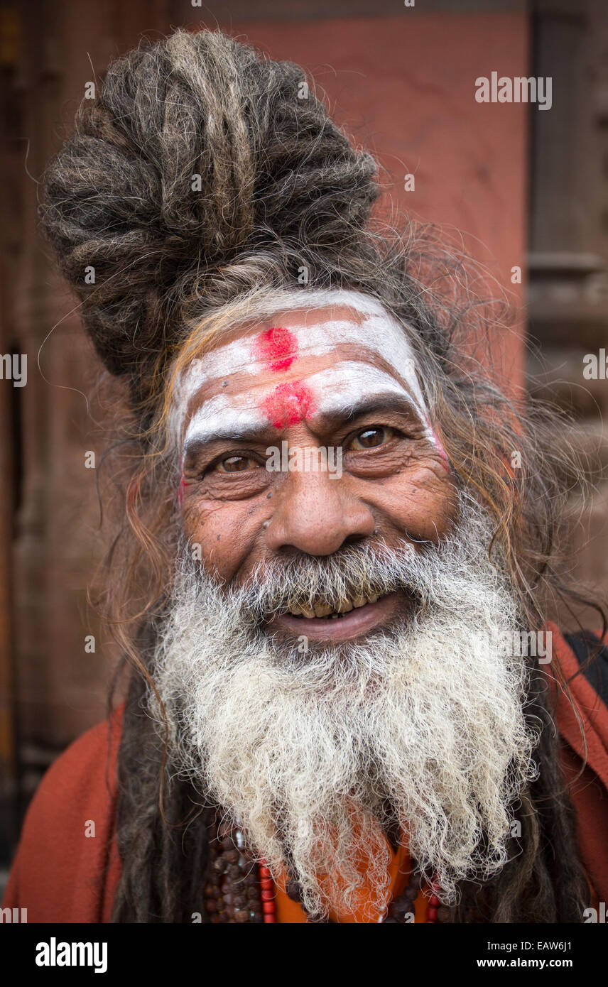 A holy man or Sadu near the banks of the Ganges river in Varanasi India. - Stock Image