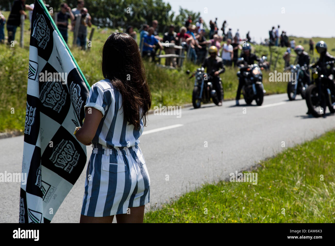 Participants awaiting the race to be started in the custom motorbike Wheels and Waves race in Biarritz, France. - Stock Image