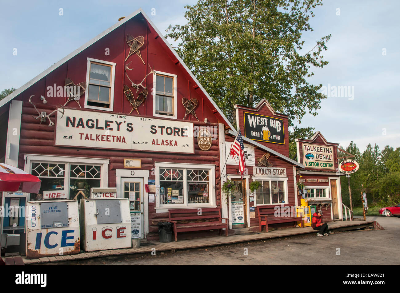 The historic Nagley's Store on main street in Talkeetna, Alaska Stock Photo