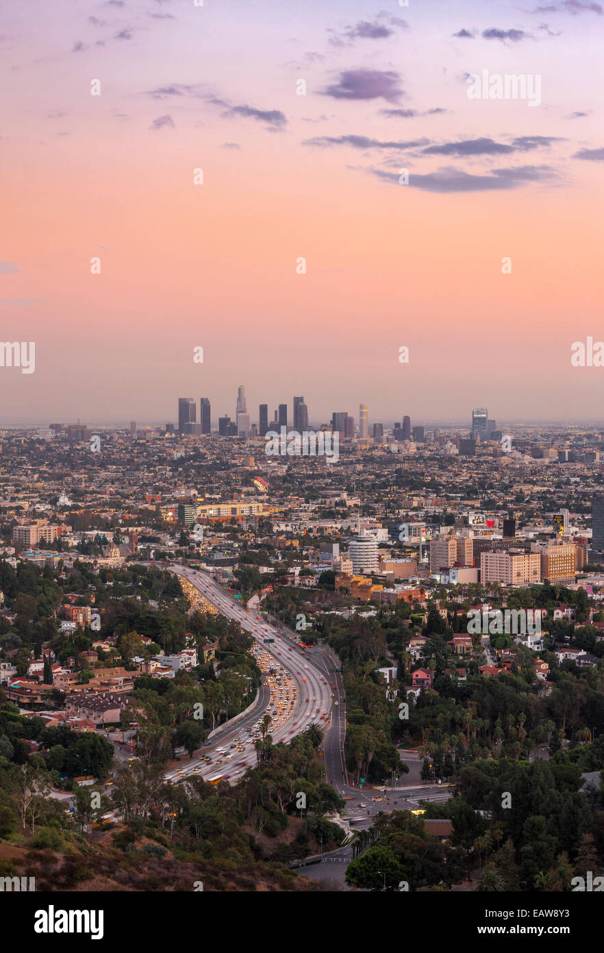 Los Angeles city downtown skyline across Hollywood. Freeway 101. View from Hollywood Bowl Overlook at Mulholland - Stock Image