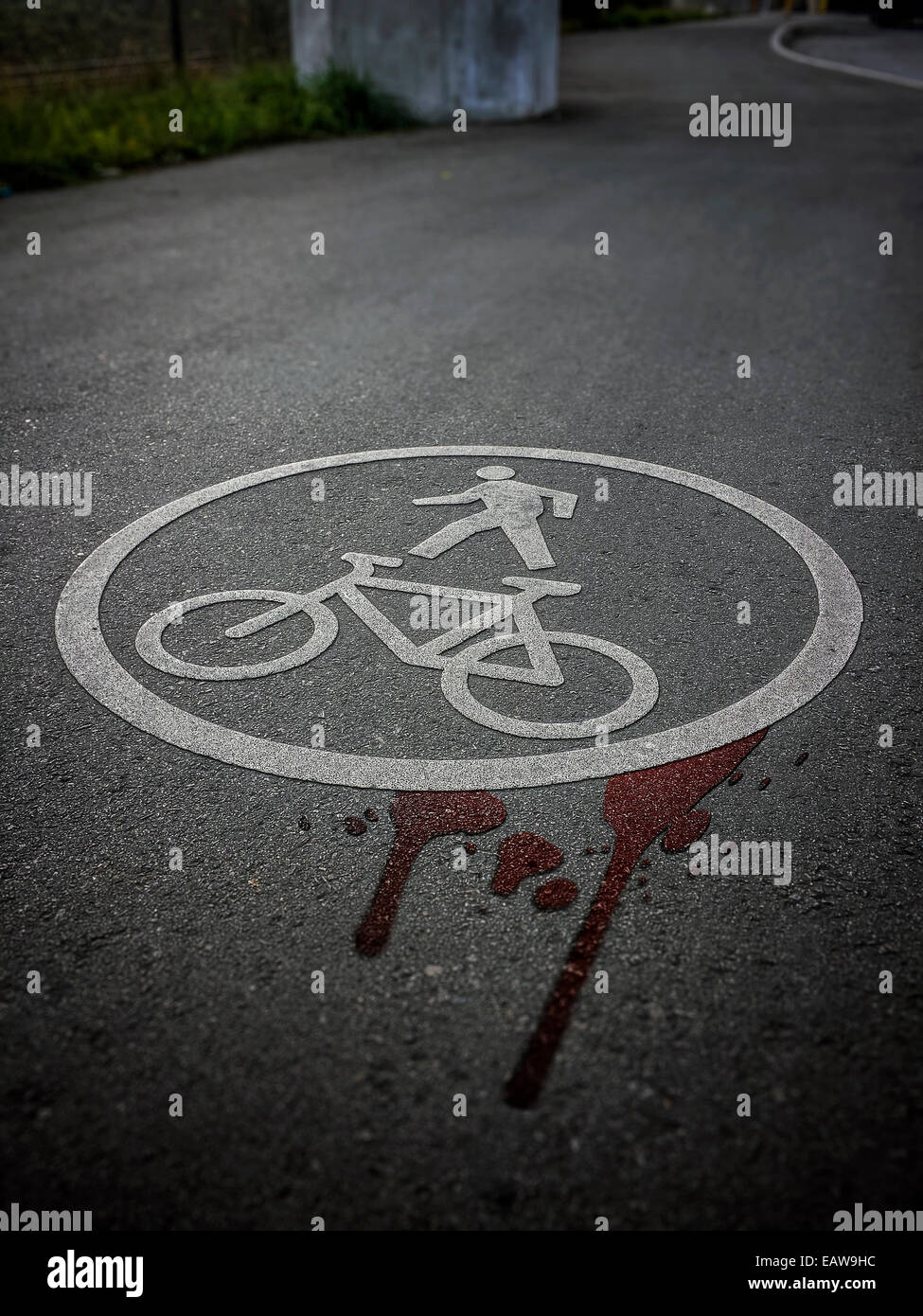 Cool effect bicycle pedestrian road sign symbol on bike lanes ground asphalt, blood,  accident, injuries, danger, - Stock Image