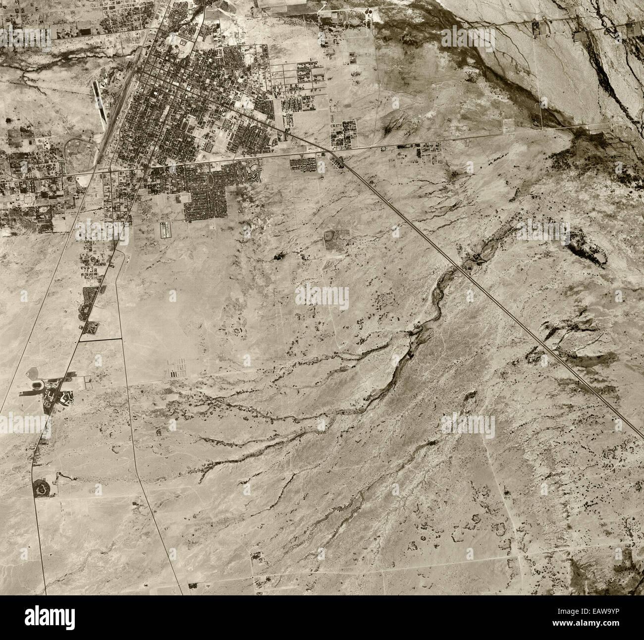 historical aerial photograph Las Vegas, Nevada, 1950 - Stock Image