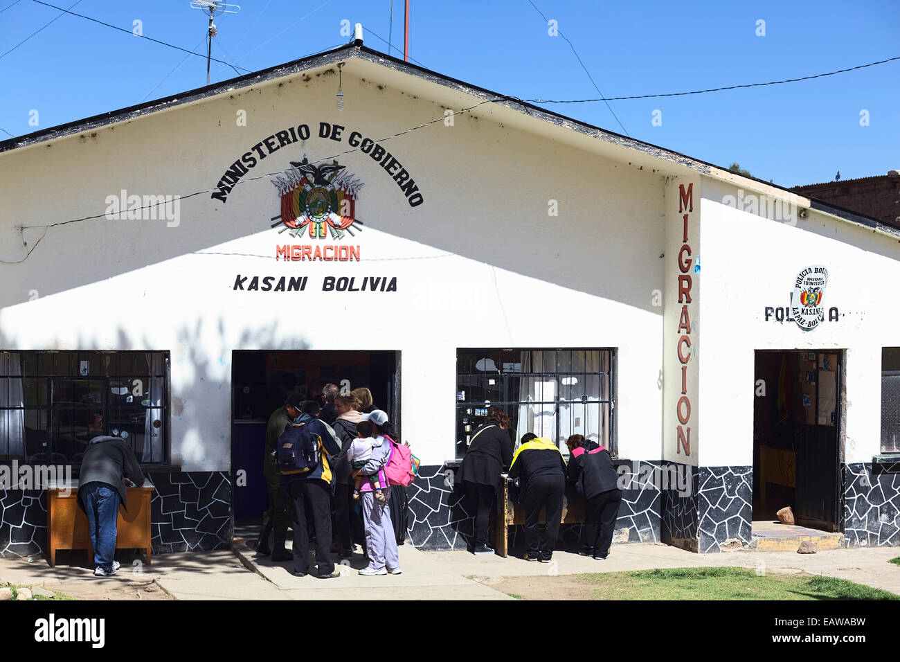 Migration office in Kasani on the Bolivian side of the Peruvian-Bolivian border Stock Photo