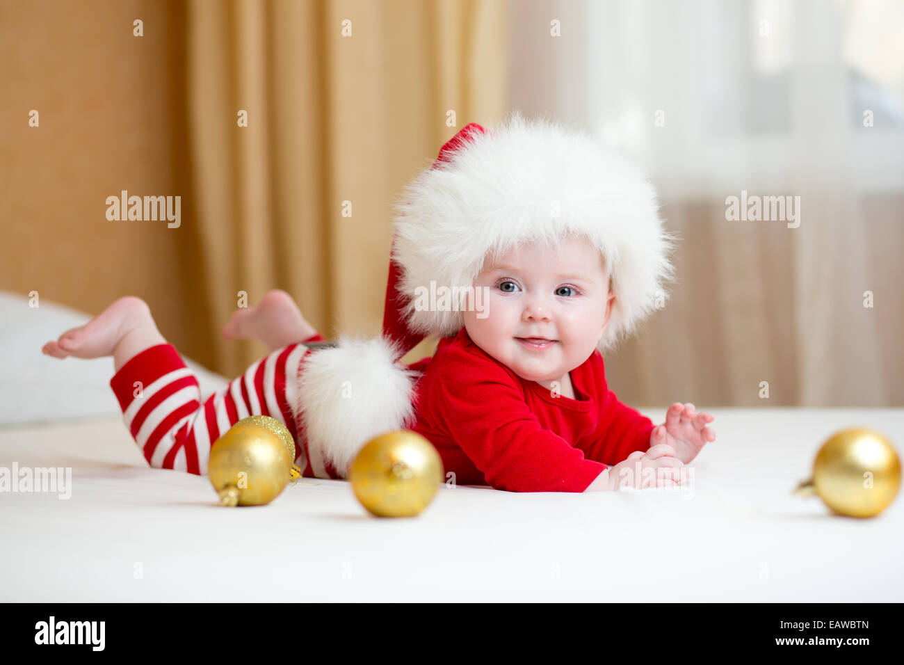 Cute Baby Girl Weared Christmas Clothes Stock Photo 75546149 Alamy