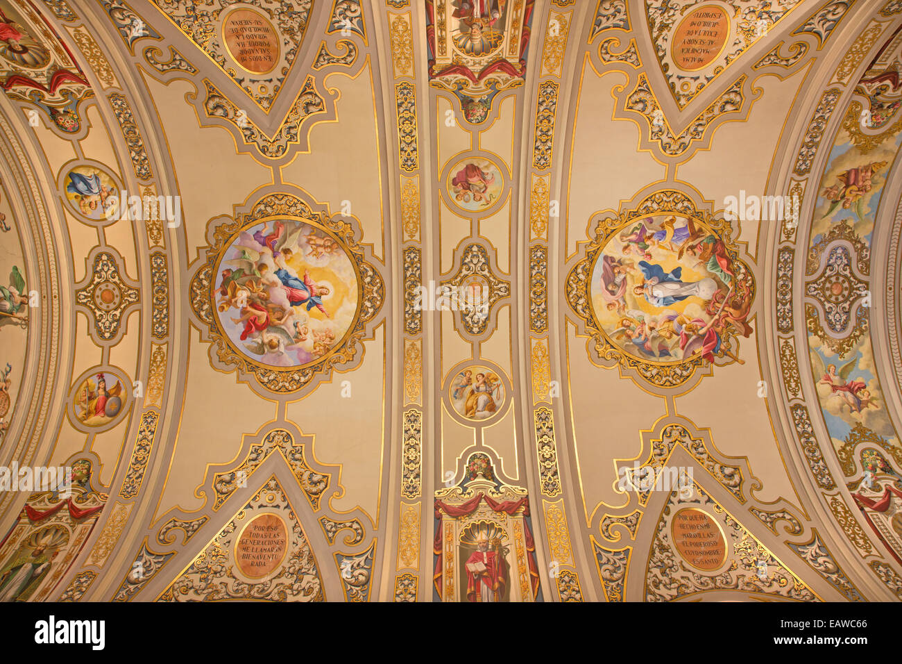 Seville - The frescoes on the ceiling in church Basilica de la Macarena - Stock Image
