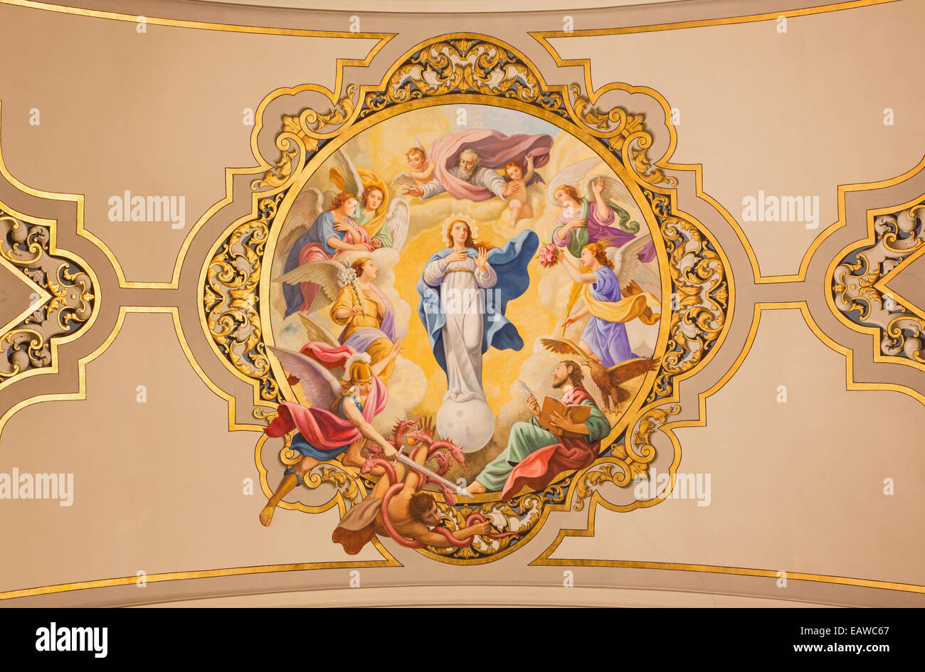 Seville - The fresco Virgin Mary as Immaculate conception on the ceiling in church Basilica de la Macarena - Stock Image