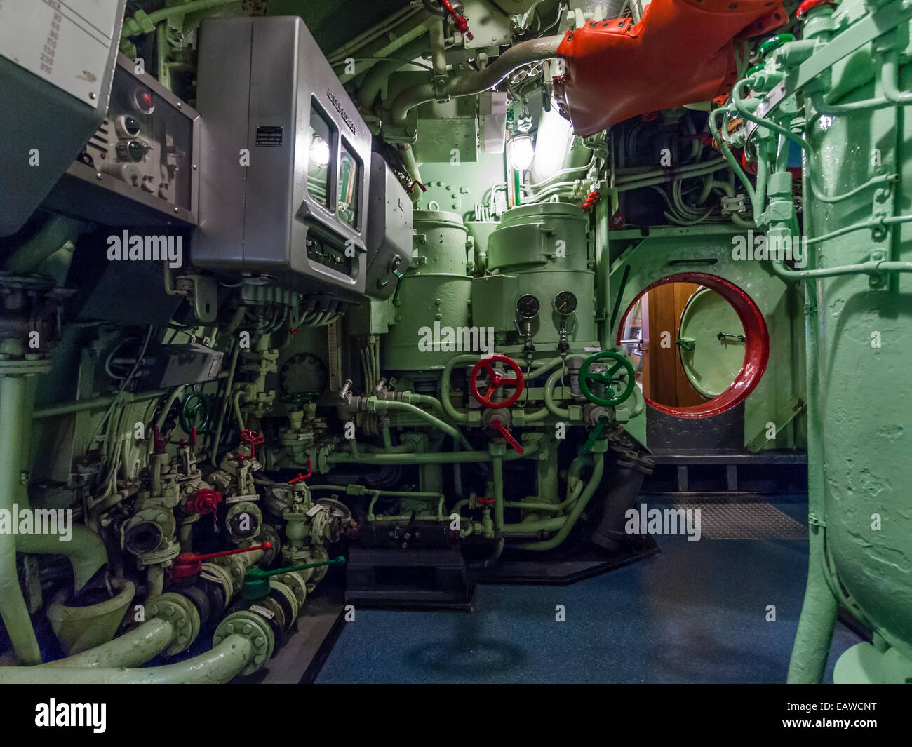 "Engine room of the historic German submarine U-2540 ""Wilhelm Bauer"", now a  museum ship in Bremerhafen, Germany."