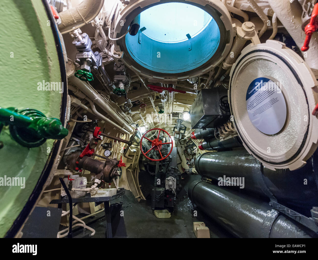Hatch of the historic German submarine U-2540 'Wilhelm Bauer', now a museum ship in Bremerhafen, Germany. - Stock Image