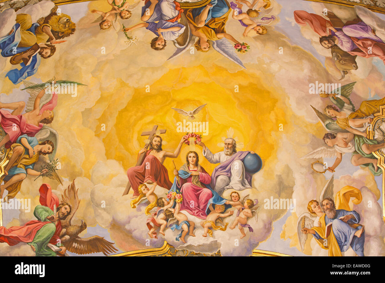 Seville - The fresco of Coronation of Virgin Mary on the ceiling of presbytery of church Basilica de la Macarena - Stock Image