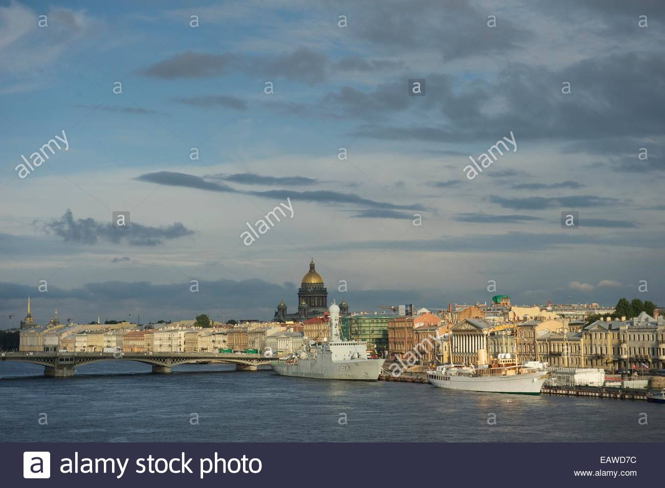 View of city from Neva River with Royal Danish Yacht, Dannebrog. Stock Photo