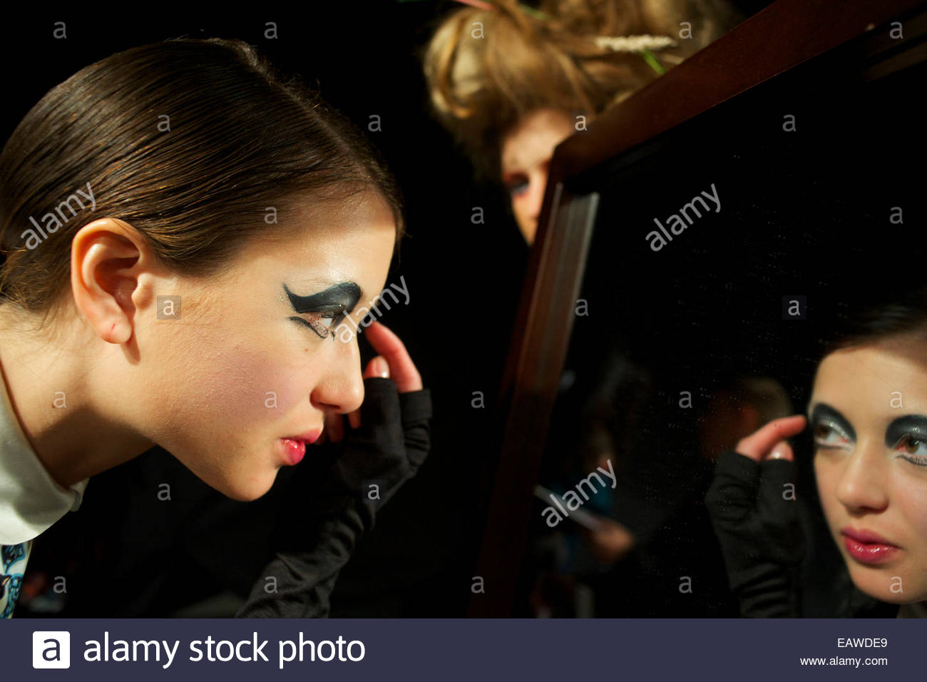 Models backstage during fashion week in Russia. - Stock Image