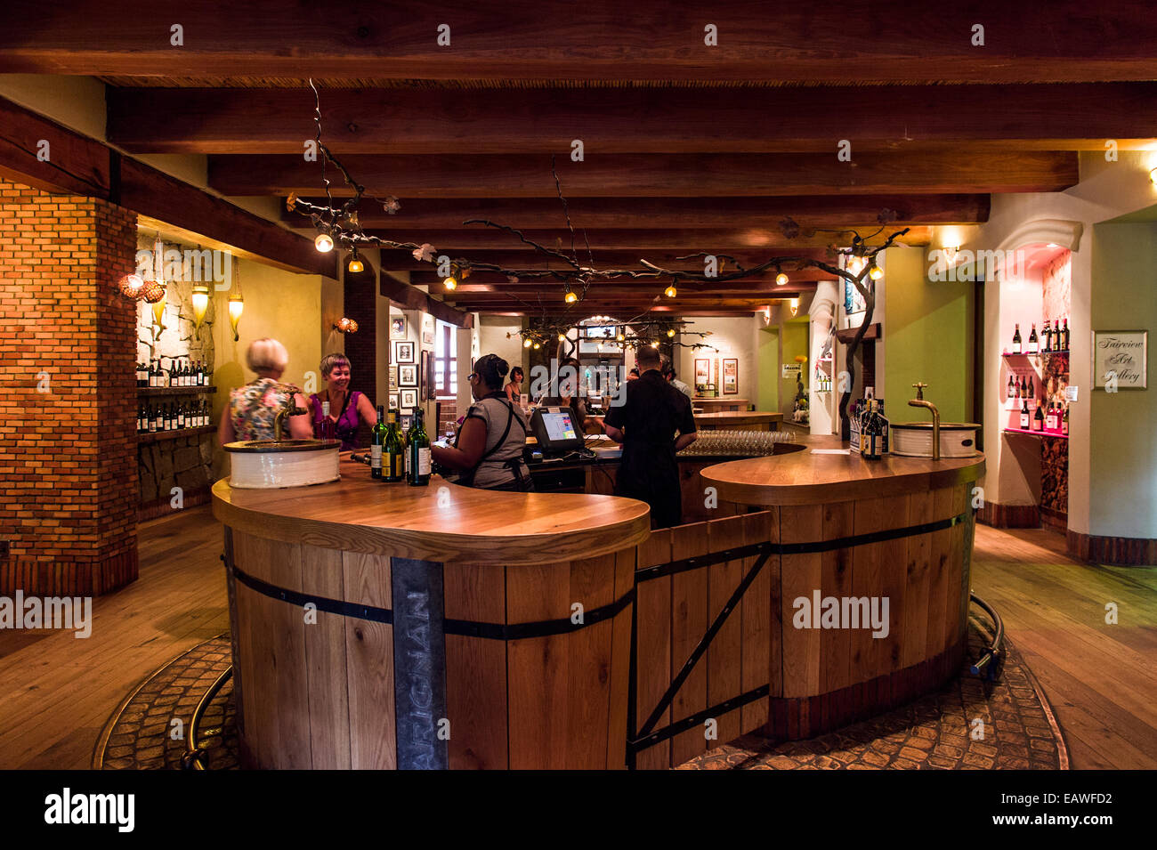 A vineyard cellar door where guests can purchase bottles of wine. - Stock Image