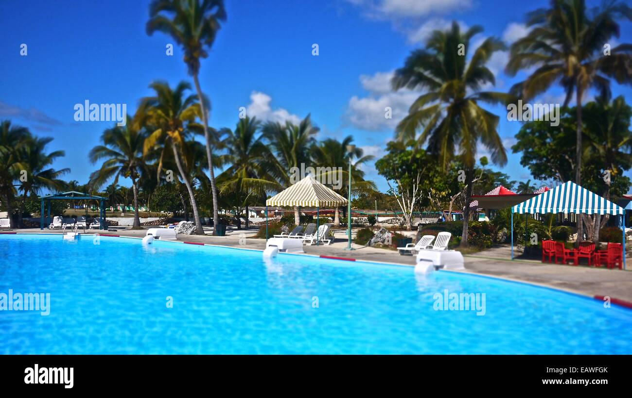 A hotel pool near were the Bay of Pigs invasion took place. - Stock Image