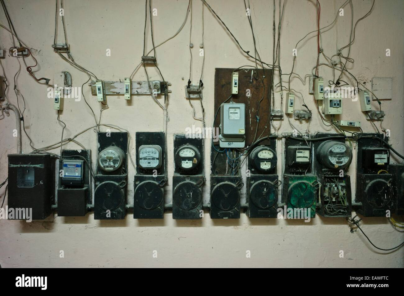 Electricity counters in the lobby of a building in Old Havana. - Stock Image