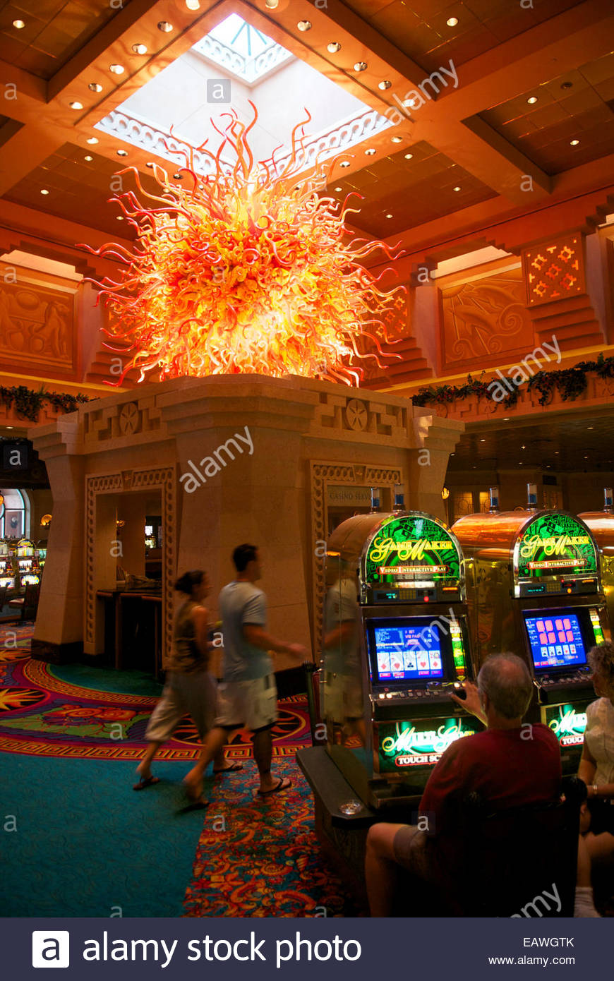 Inside a casino in Atlantis Resort in the Bahamas. - Stock Image