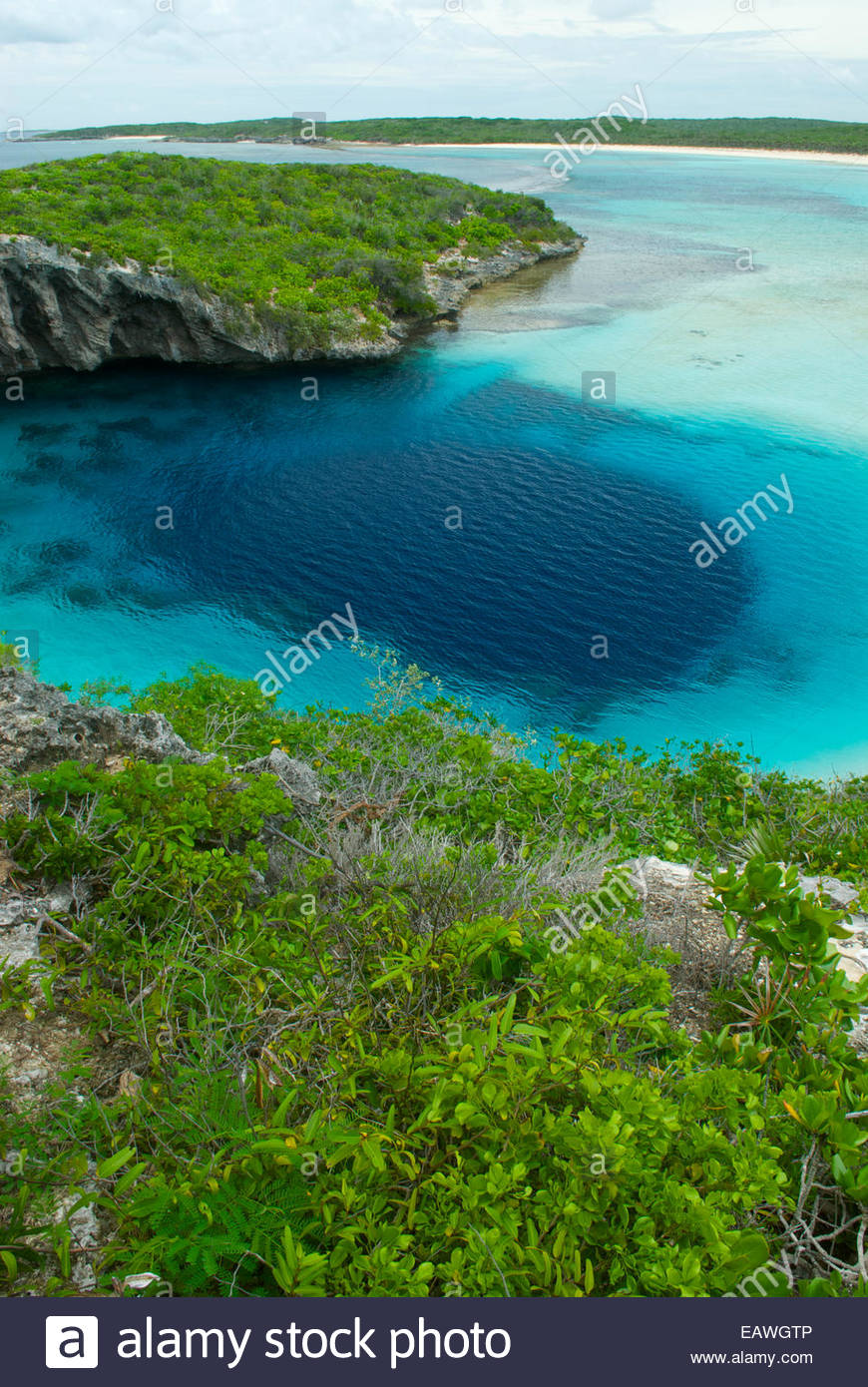 Dean's Blue Hole, the deepest oceanic hole in the world. - Stock Image