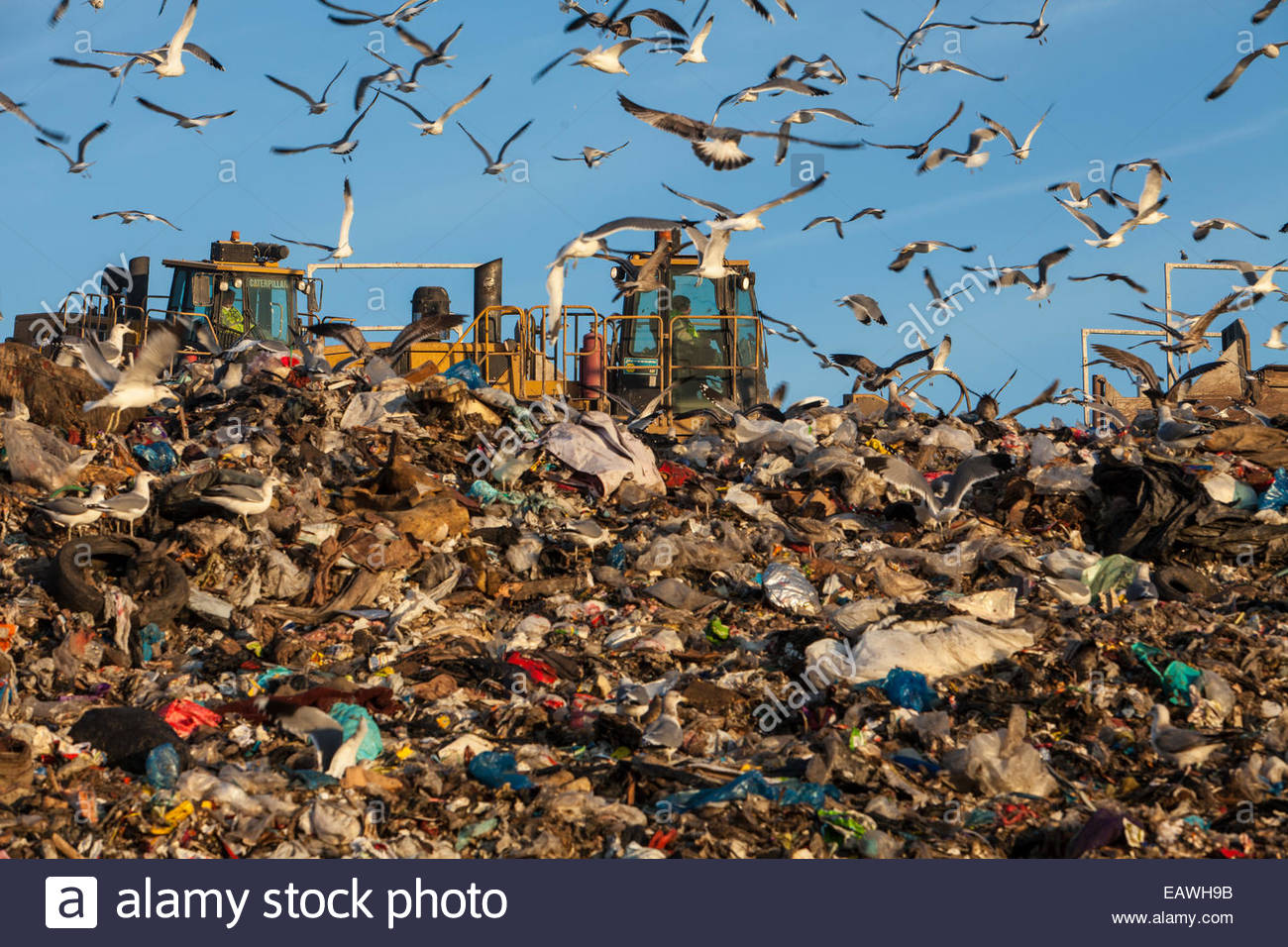 A landfill generates liquified natural gas. - Stock Image