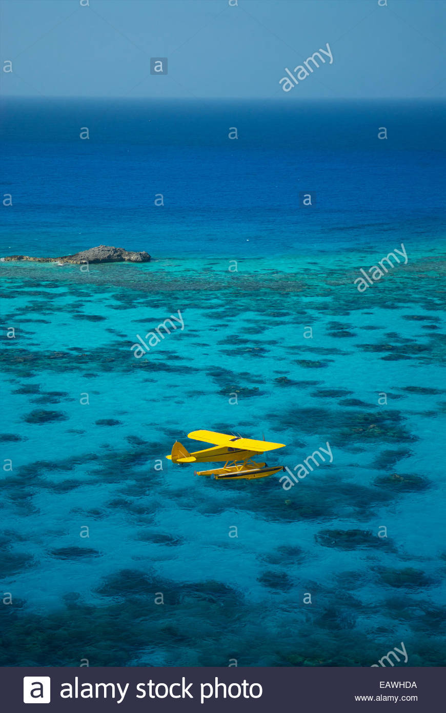 A Pa18 Super Cub Floatplane Explores The Ocean Off Conception Island