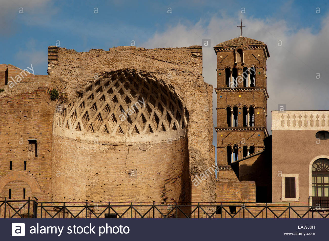 The coffered vaulted ceiling of the Temple of Venus and Roma in Rome. - Stock Image