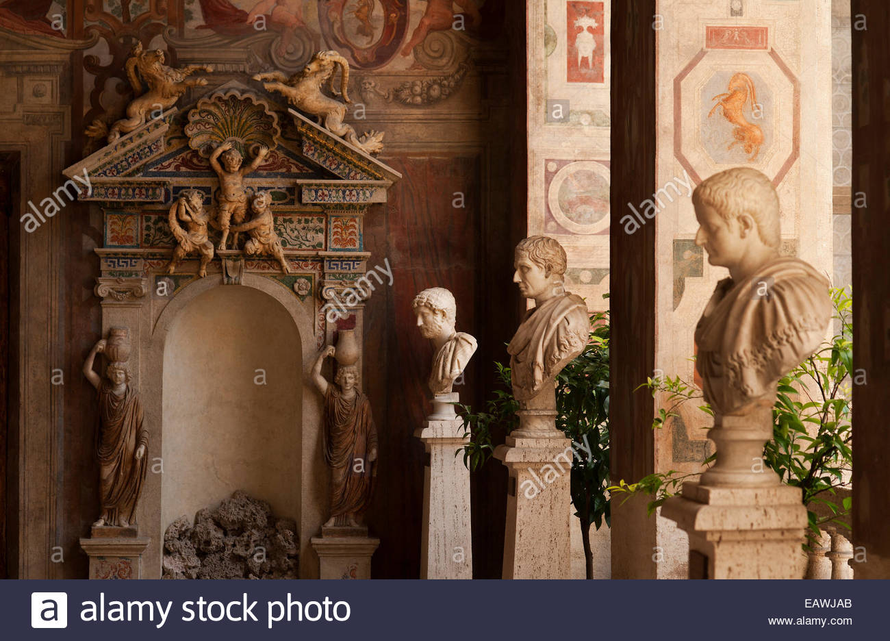 A row of busts of Roman emperors in the Palazzo Altemps in Rome. Stock Photo