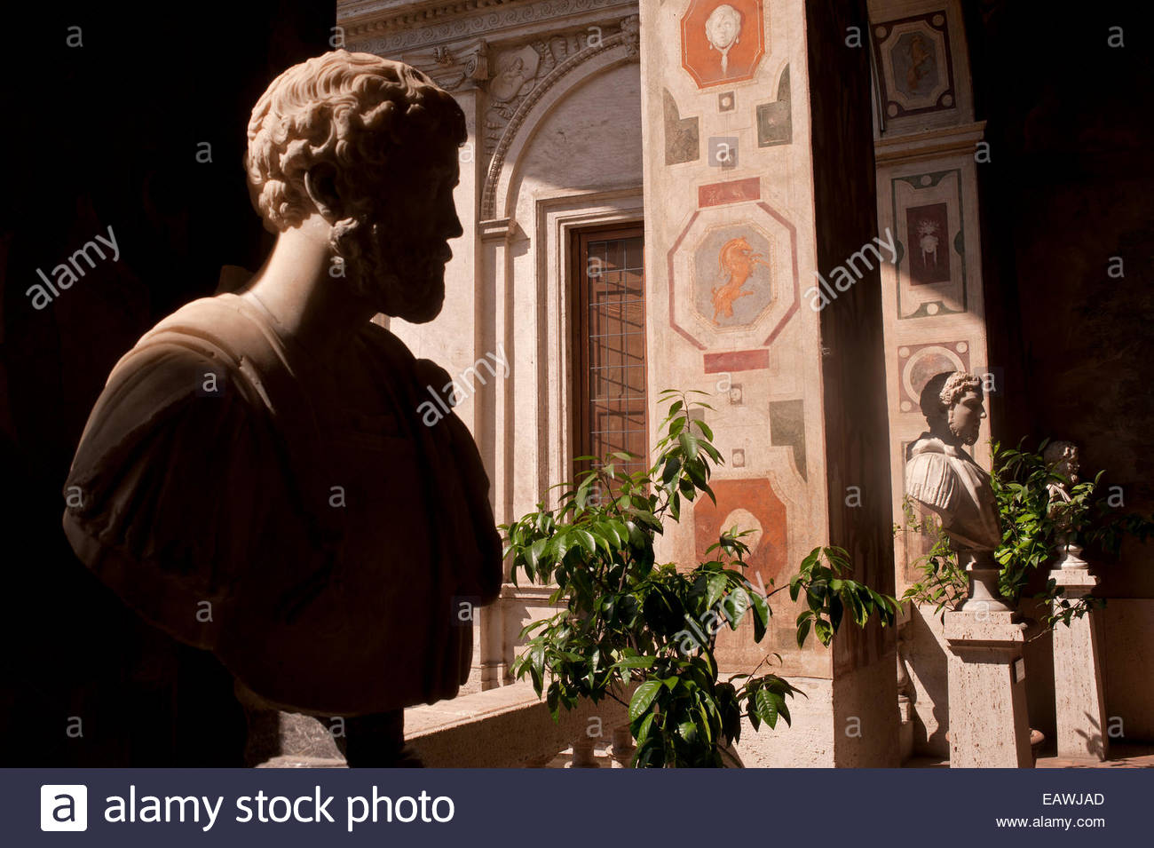 Busts of Roman emperors if the Palazzo Altemps in Rome. - Stock Image