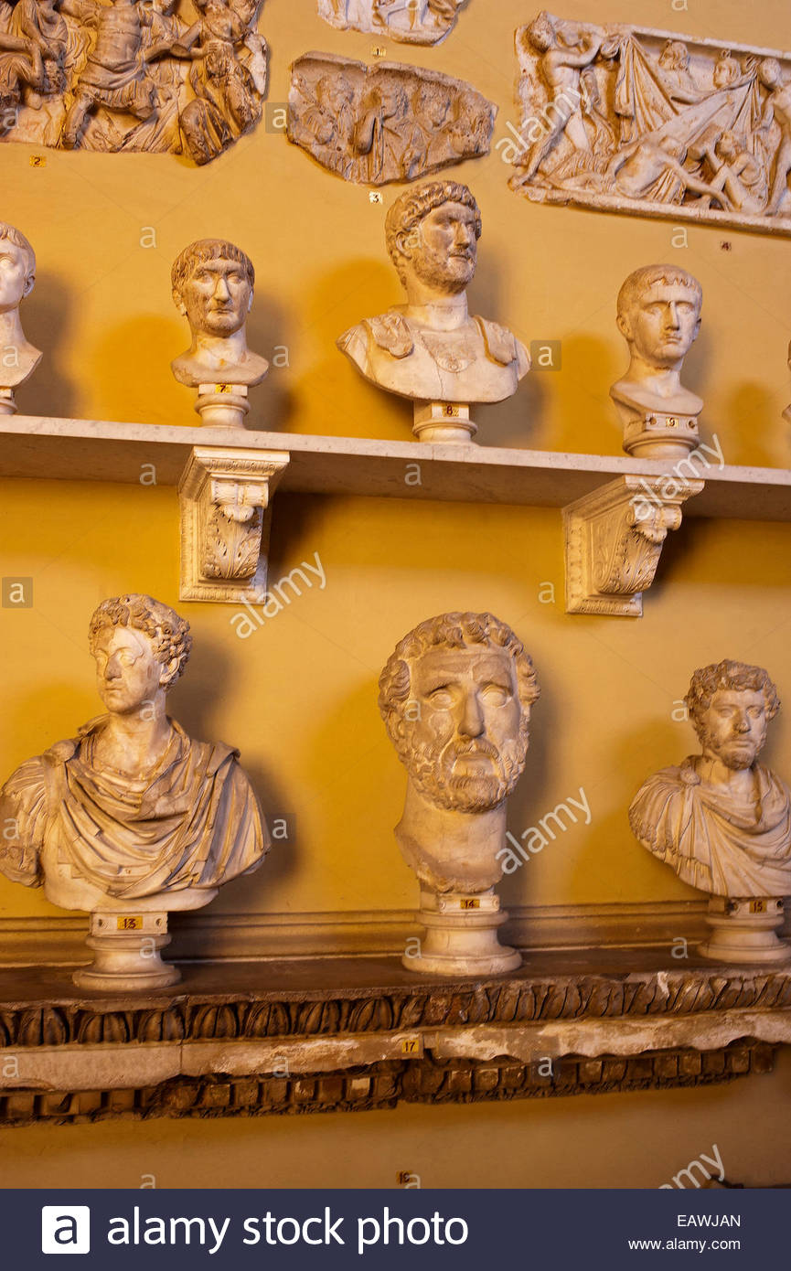 A collection of marble busts and reliefs in the Chiaramonti Gallery. - Stock Image