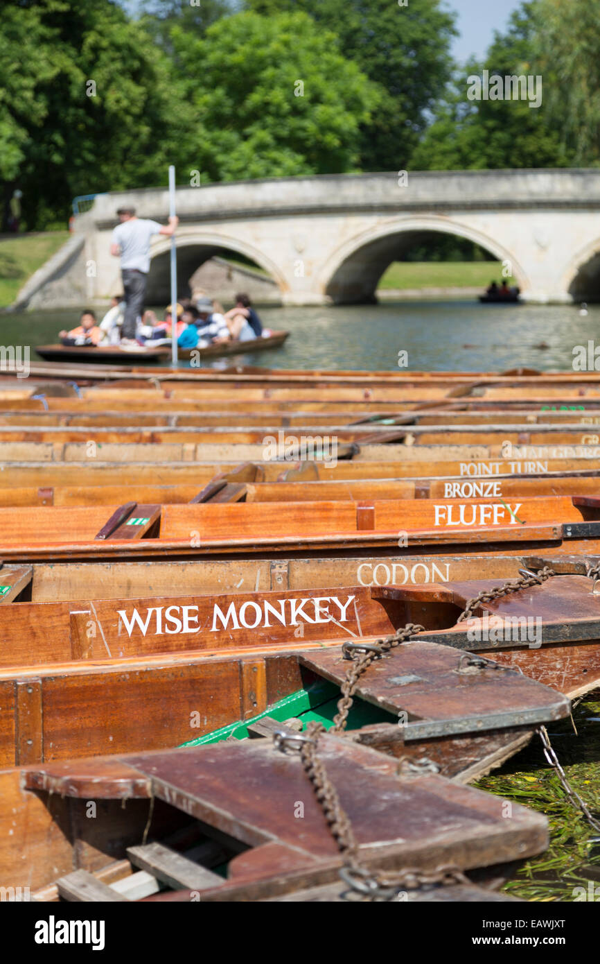 UK, Cambridge, punts on the river Cam with unique names. - Stock Image