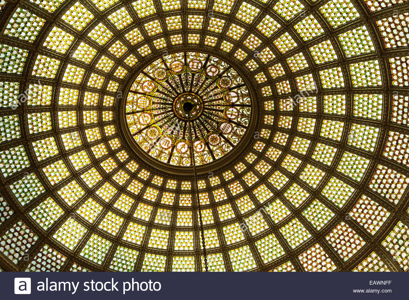 Zodiac signs encircled in the Tiffany favrile glass dome in the Chicago Cultural Center. - Stock Image