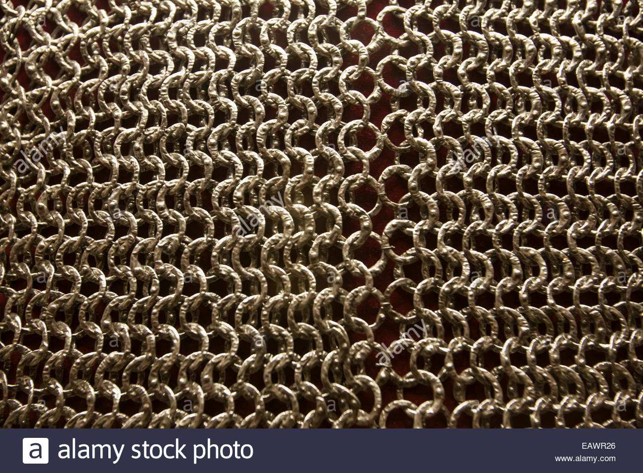 A close up of the armor, mail, on display at the Philadelphia Museum of Art. - Stock Image