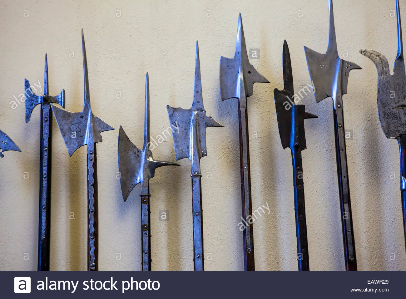Polearm weapons used by infantry in Medieval Europe on display at the Philadelphia Museum of Art. - Stock Image