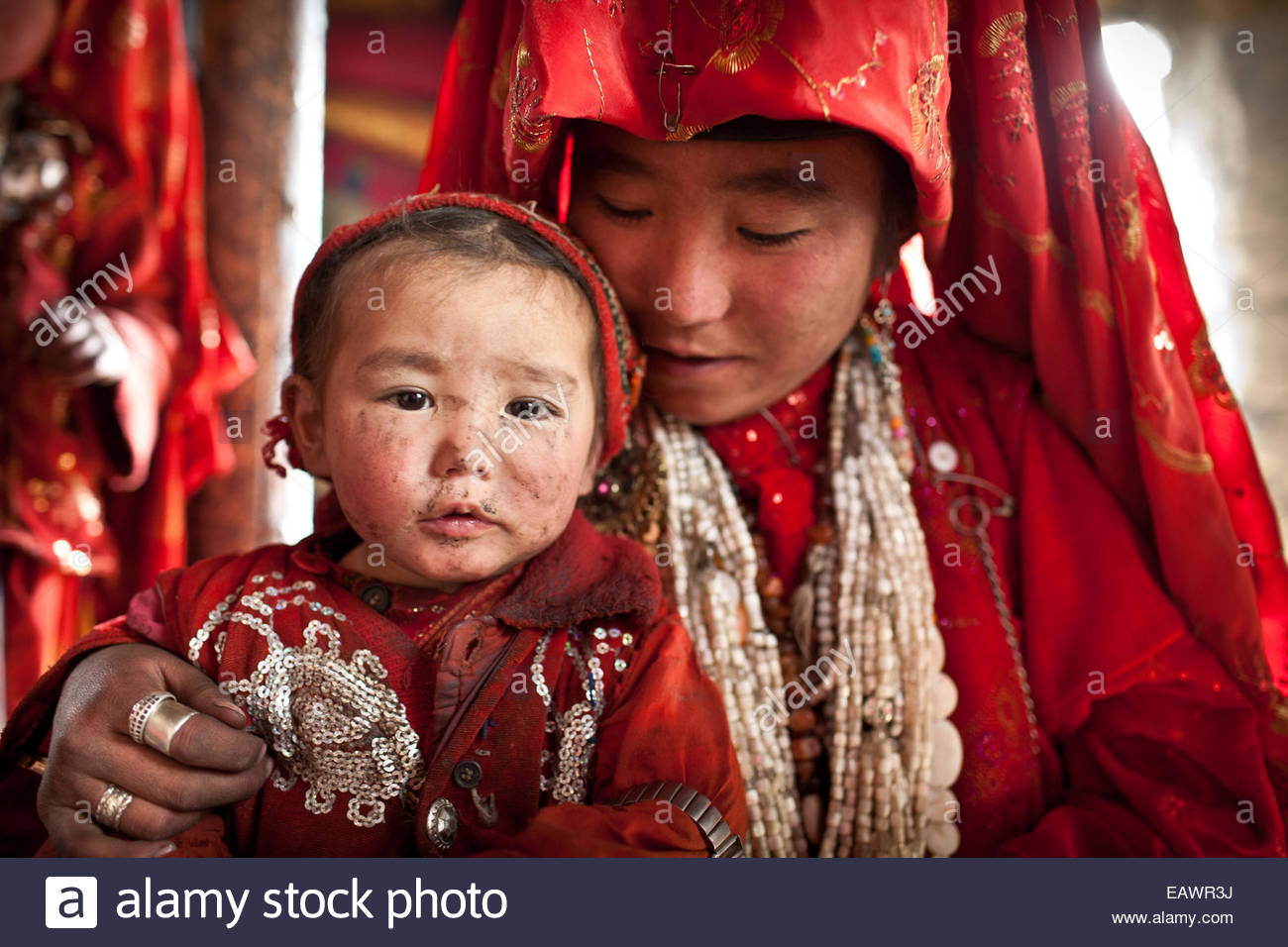 A recently married girl with her younger sister. - Stock Image