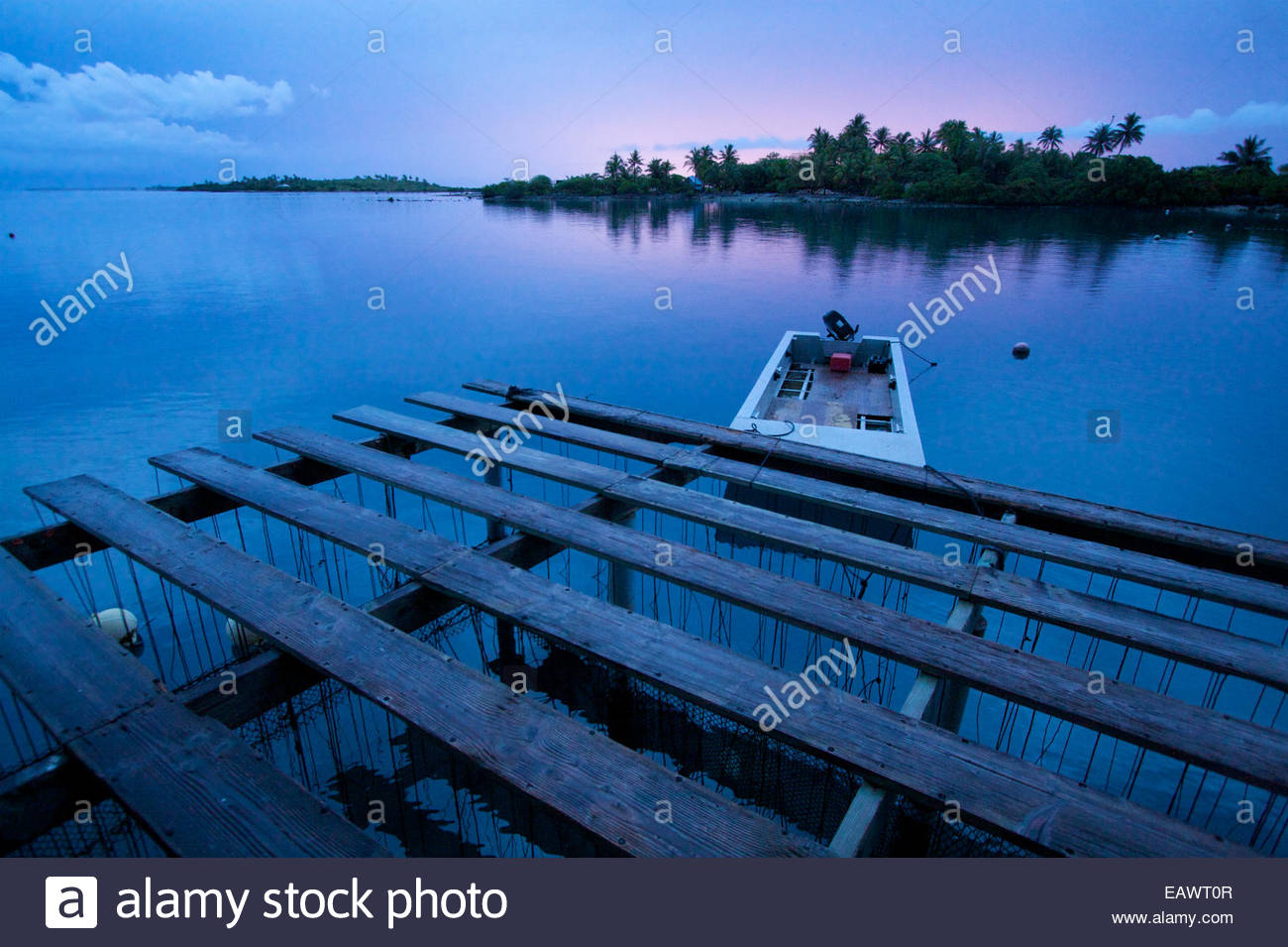 A boat is tied up to an oyster platform on a Tahitian pearl farm at the end of a calm day. - Stock Image