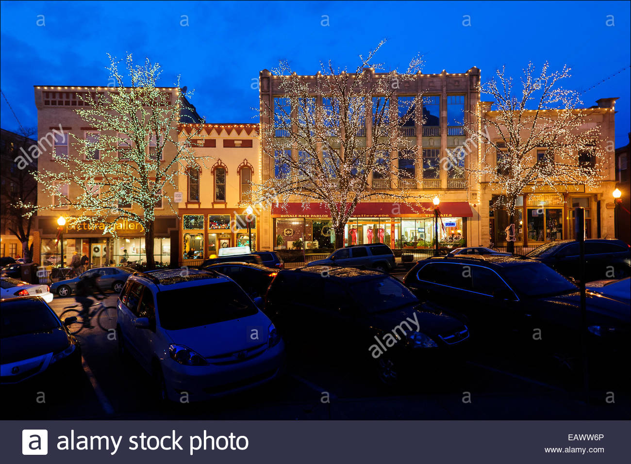 From late November until early January, a canopy of holiday lights along West Sixth Street helps transform the Court Stock Photo