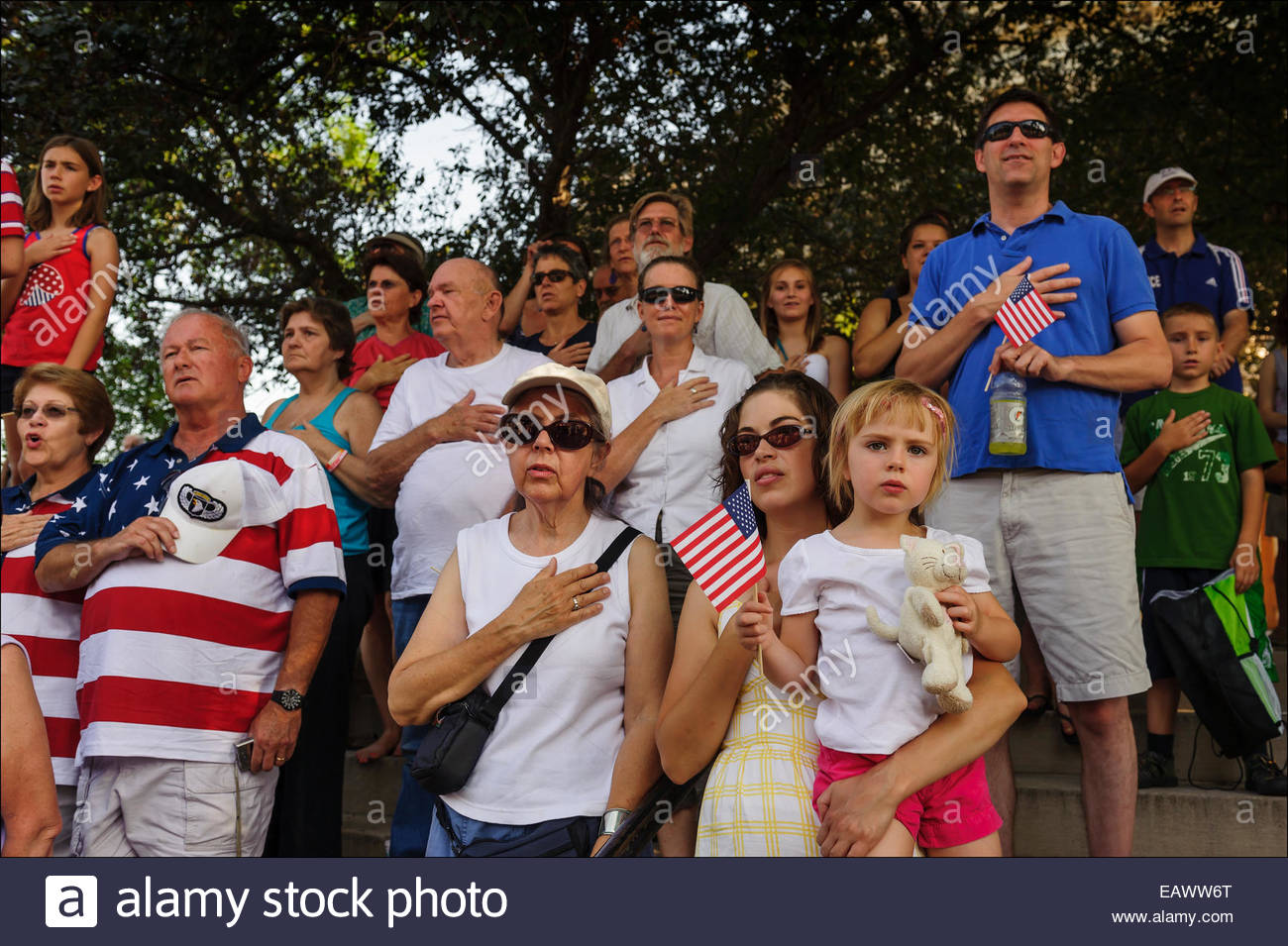 Memorial Day ceremonies on the Bloomington, Indiana, Court House Square bring out the city patriots, including war - Stock Image
