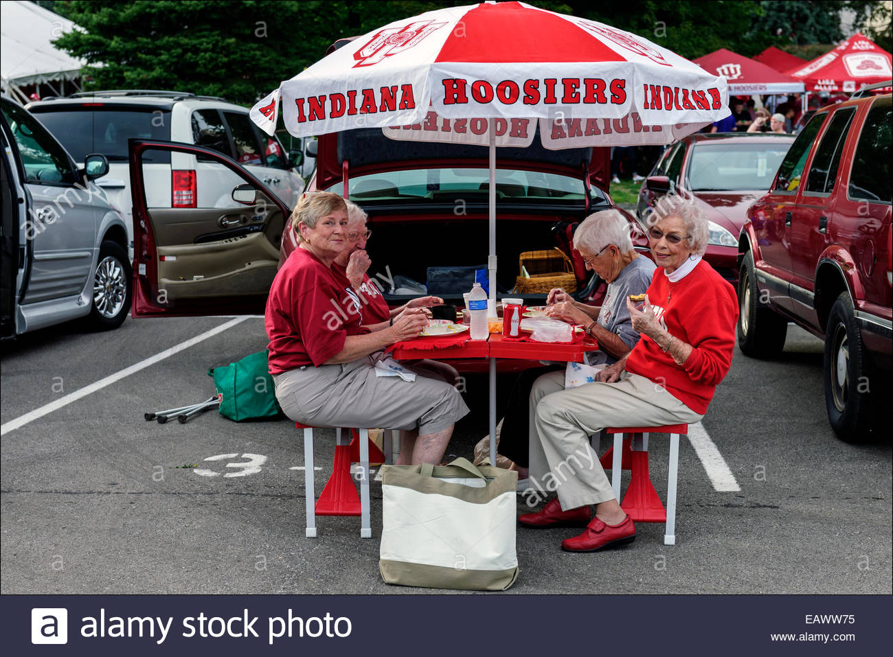 For families, alumni, and more mature football fans, Hoosier Village is the destination of choice before Indiana - Stock Image