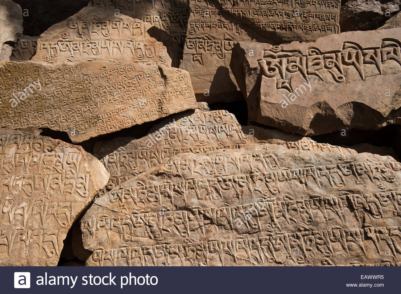 Mani stones inscribed with a Tibetan mantra beside the trail near Ringmo in Dolpa, a remote region of Nepal - Stock Image