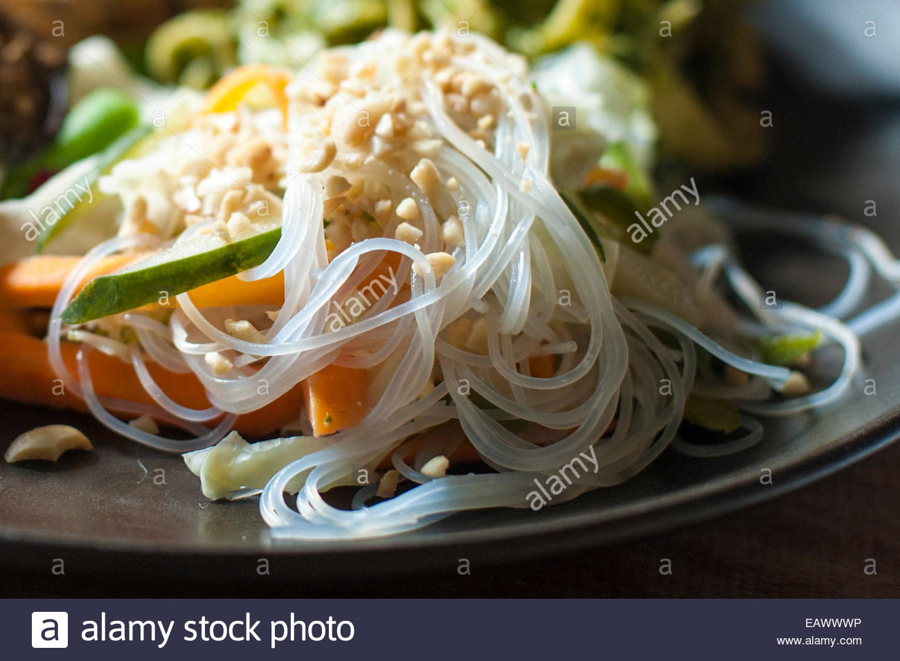 Rice noodles dish at a resort in Nepal - Stock Image