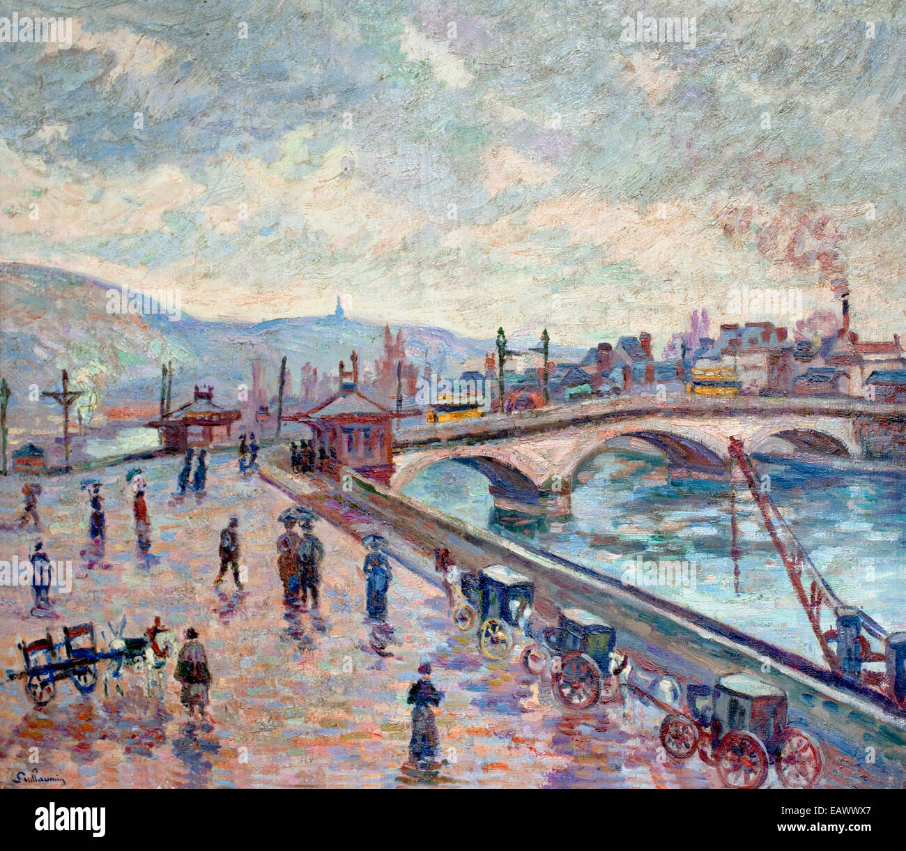 view at the seine at rouen by armand guillaumin 1841 1927 france french stock - French Ngel Muster