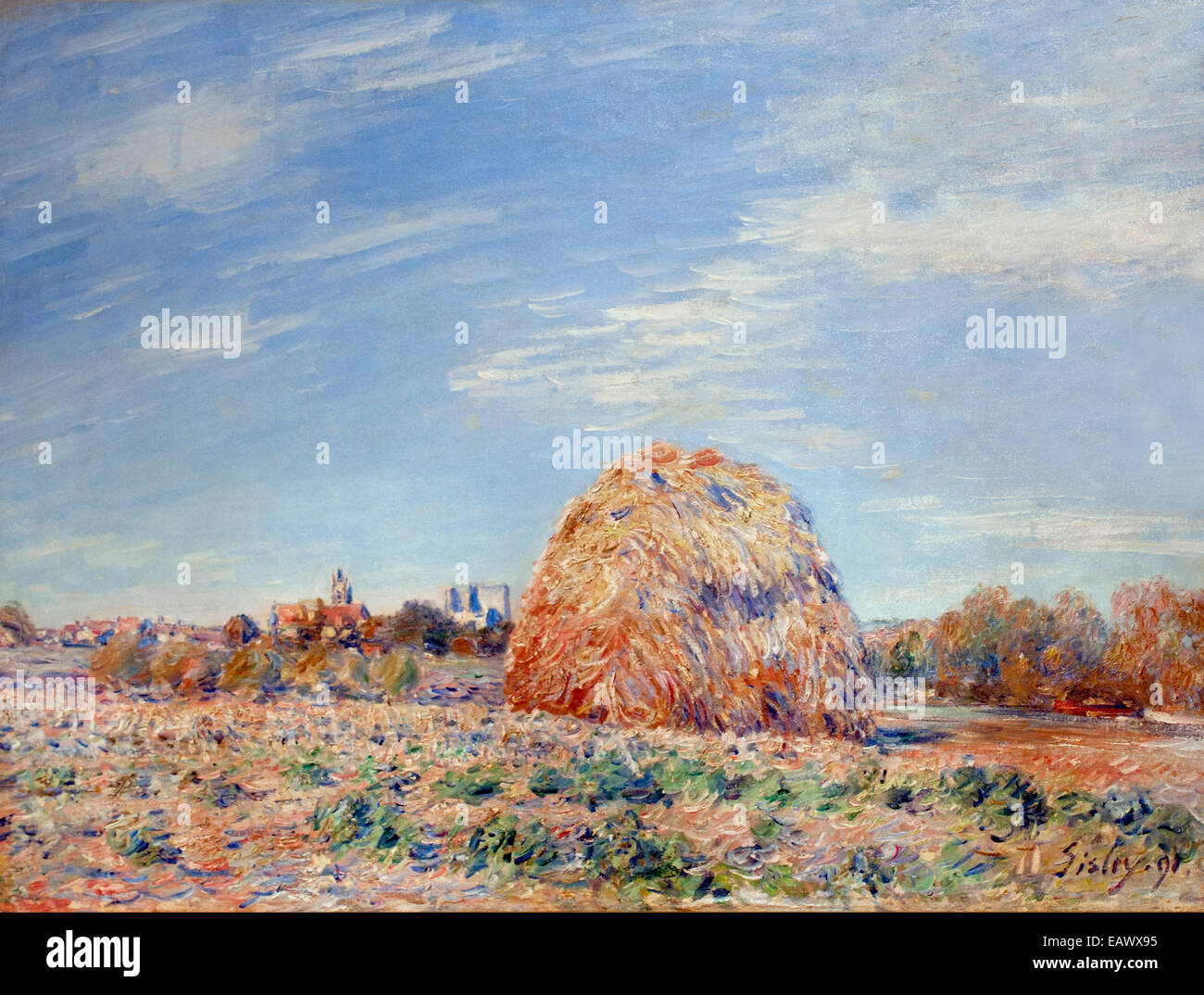 Haystack on the banks of the Loing by Alfred Sisley 1839 - 1899 British / French Impressionist France - Stock Image