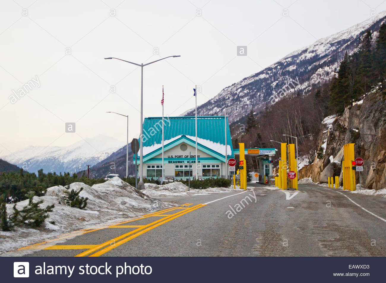 The American Customs and Immigration Security checkpoint  on the Klondike Highway at the U.S. and Canada border. - Stock Image