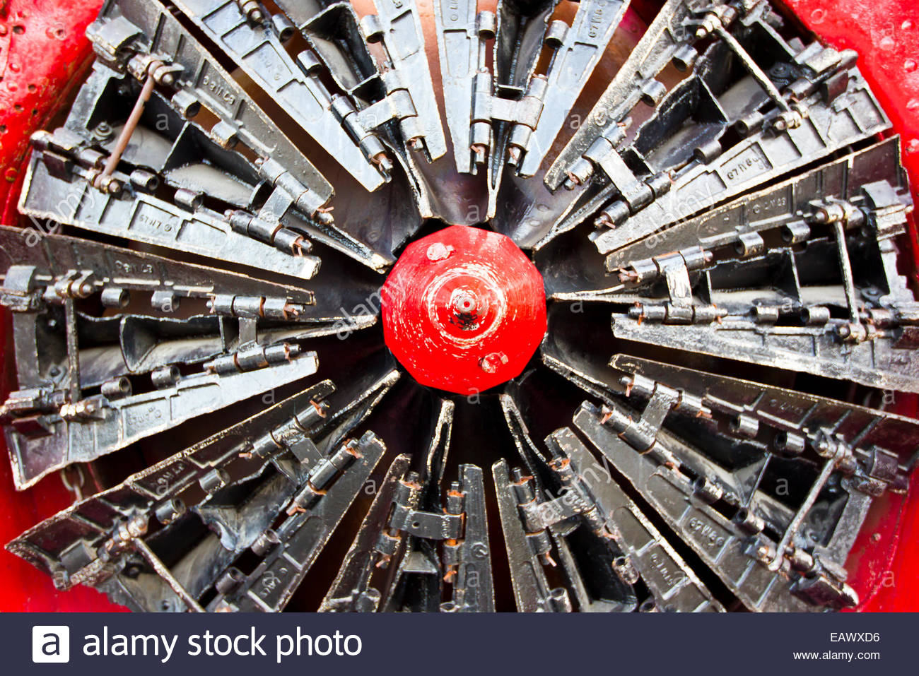 Front end blades attached to a train used for mining. - Stock Image