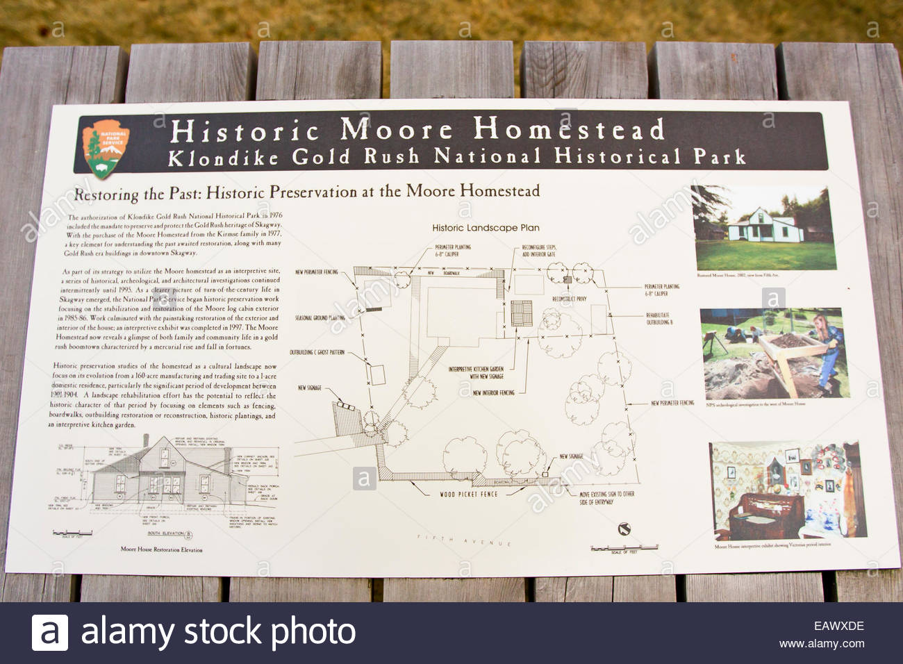 A sign and map of the historic Moore Homestead in Klondike Gold Rush National Park. - Stock Image