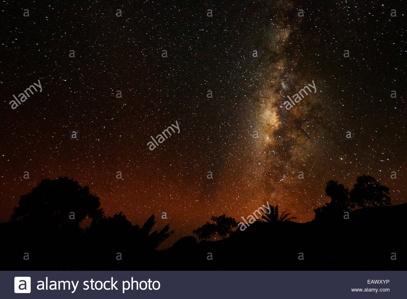 The milky way above Bamessing. - Stock Image