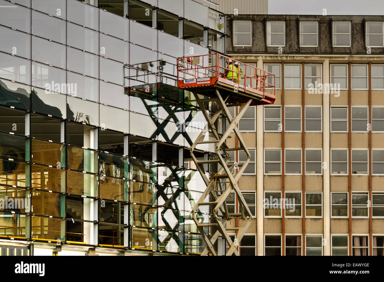 Westfield Shopping Centre and cherry picker lift - Stock Image