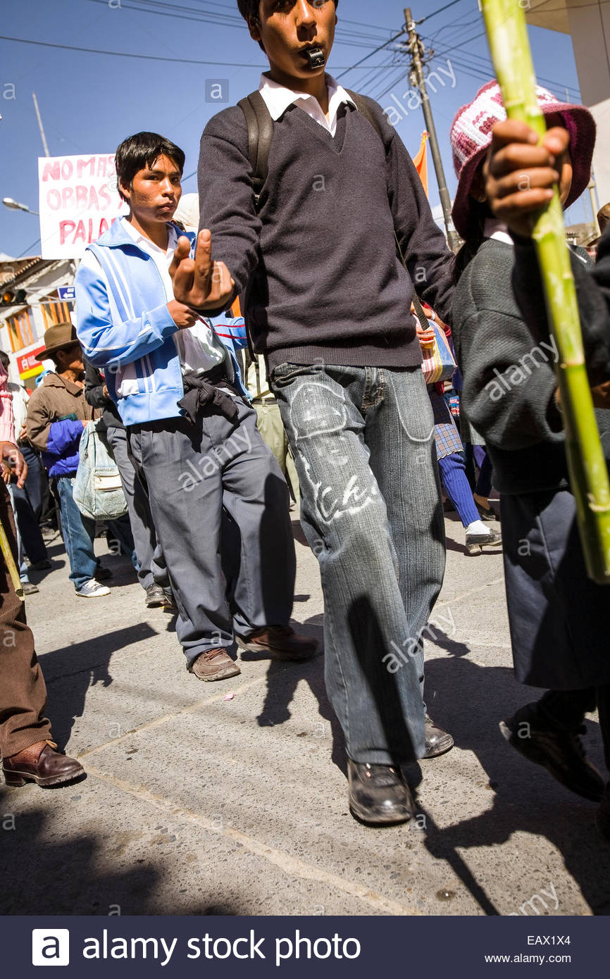 Demonstrators in a street protest in Huaraz, Peru. - Stock Image