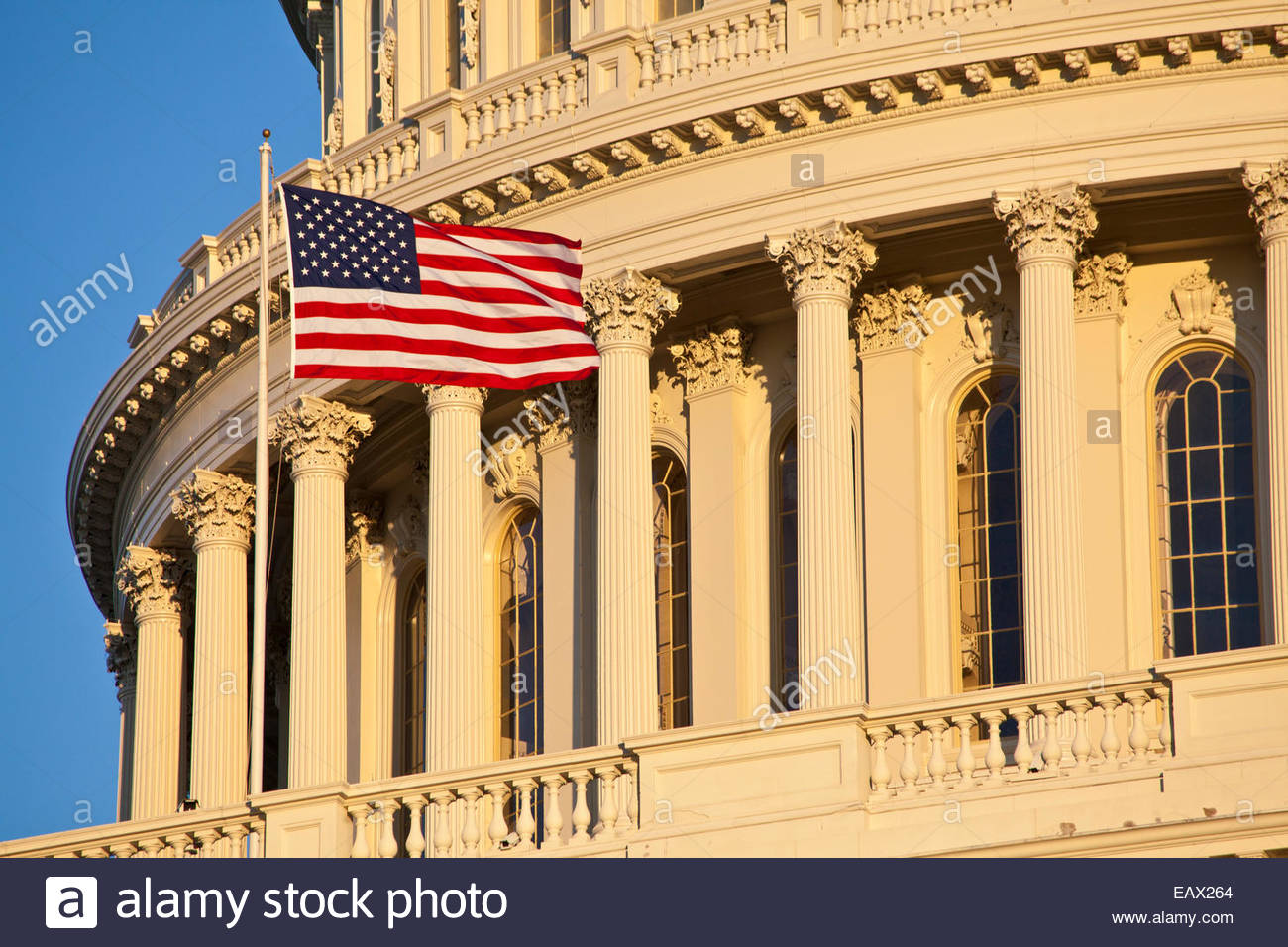 Close up view of the American flag flown on the US Capitol Building. - Stock Image