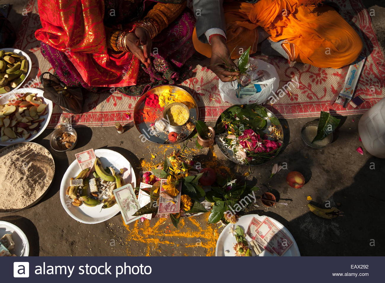 A Hindu marriage ceremony near the Sacred Garden at the Buddha's birthplace. Stock Photo