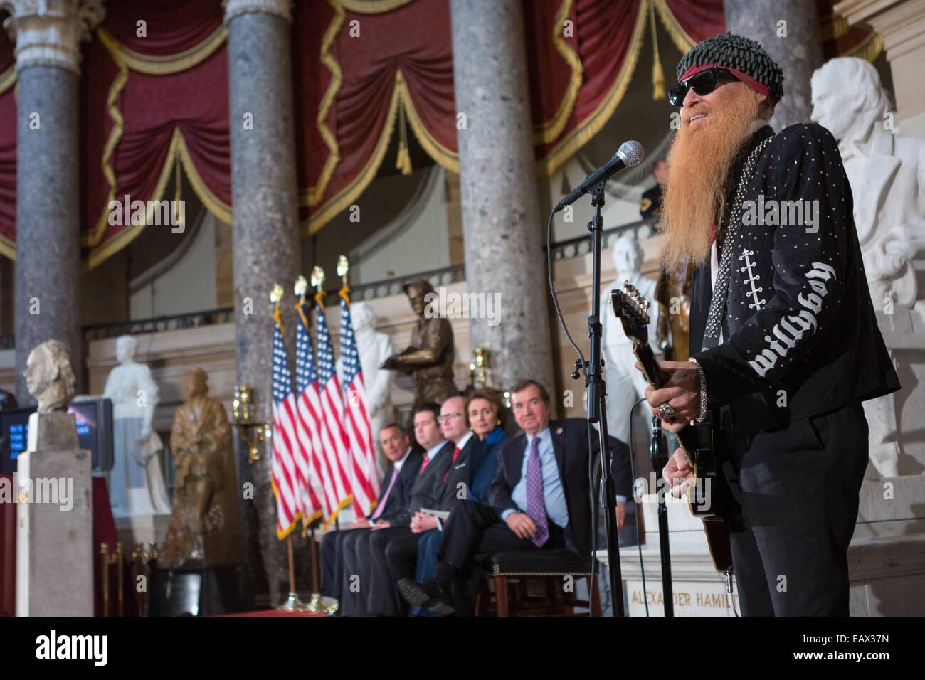 ZZ TOP bandleader and Rock and Roll Hall of Fame member Billy Gibbons performs a musical selection during a bust - Stock Image